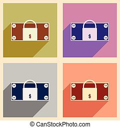 Flat with shadow icon concept lock and dollar