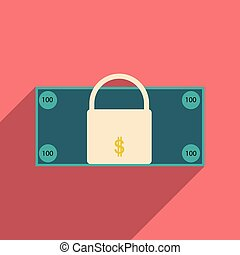 Flat with shadow icon lock and dollar