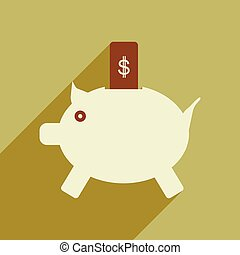 Flat with shadow icon piggy bank and dollar
