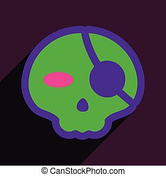 Flat with shadow Icon Pirate skull on a colored background