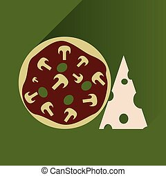 Flat with shadow Icon pizza and cheese
