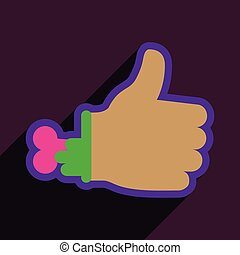 Flat with shadow Icon Zombie hand on a colored background
