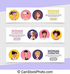 Flat Woman Characters Avatars Horizontal Banners