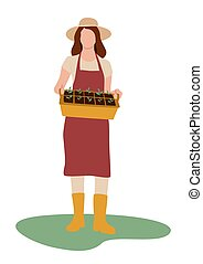 Flat Woman with seedling. Gardener girl holding a box of seedlings. Vector illustration in flat style isolated on white background. Farmer. Spring
