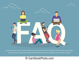 Flat women and men with letters symbols faq on blue background