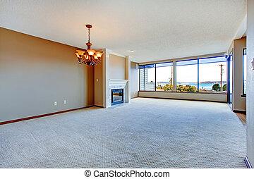 flat, woonkamer, met, groot, windows.