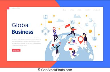 Flat Worldwide Businessman Concept Landing Page. Earth Globe Design Global Corporate Businessman Found Partnership in World Globe Website or Web Page. Flat Cartoon Vector Illustration