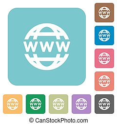 Flat www globe icons on rounded square color backgrounds.