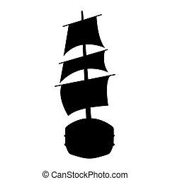 Flat yacht icon. Boat logo on white background. Vector illustration sign.