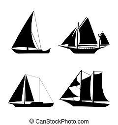 Flat yacht icons. Boat logo on white background. Vector illustration sign.
