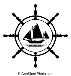 Flat Yacht logo icon with helm. Boat logo with water on white background. T-shirt design consept. Vector illustration sign.