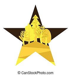 Flat yellow illustration in the form of a star with the wood.