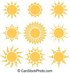 Flat yellow sun cartoon shapes isolated on white background.
