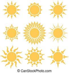 Flat yellow sun cartoon shapes isolated on white background.