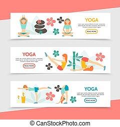 Flat Yoga Horizontal Banners