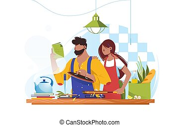 Flat young man and woman couple cooks together.