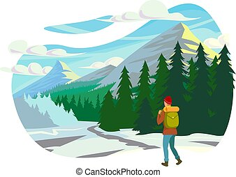 Flat young man with winter clothes and backpack in trip to mountains.