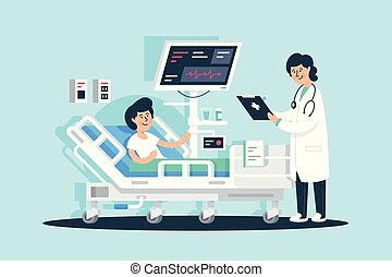 Flat young woman doctor with tablet and patient near medical equipment.