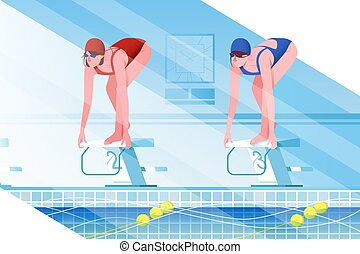 Flat young woman silhouette with sport swimsuit in swimming pool.