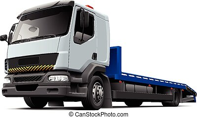 High quality vector illustration of typical flatbed recovery vehicle based on light truck, isolated on white background. File contains gradients, blends and transparency. No strokes. Easily edit: file is divided into logical layers and groups.