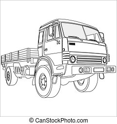 cargo onboard a retro car on a white background vector