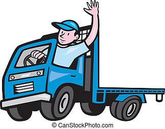 Illustration of a flatbed truck with driver waving hello on isolated white background done in cartoon style.