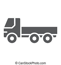 Flatbed truck glyph icon, automobile and cargo, car sign, vector graphics, a solid pattern on a white background.