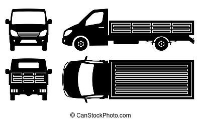 Flatbed truck silhouette vector illustration with side, front, back, top view