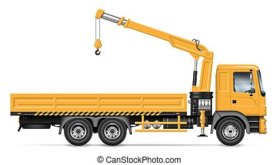 Flatbed truck with crane side view vector illustration