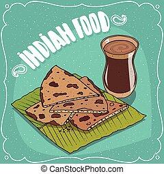 flatbread, 차, chai, 산산조각, 인도 사람, masala