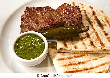 flatbread, carne, assado