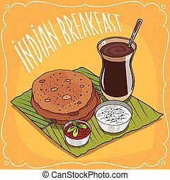 flatbread, chai, indianas, masala, pequeno almoço, redondo