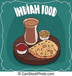 flatbread, chai, indianas, masala, redondo, molhos