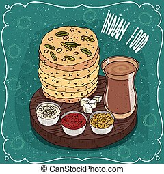 flatbread, chai, indianas, pilha, masala, molhos