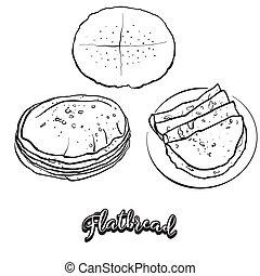 Flatbread food sketch on chalkboard. Vector drawing of ...