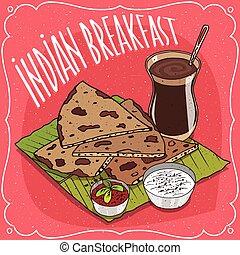 flatbread, masala, pequeno almoço, chai, indianas