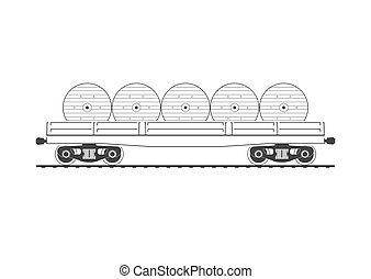 flatcar, con, cable, carretes