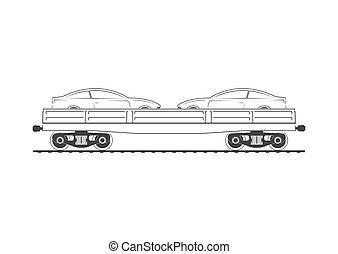 flatcar, con, dos, automóviles