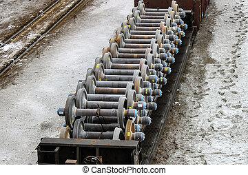 flatcar, lleno, de, nuevo, tren, rueda, conjuntos