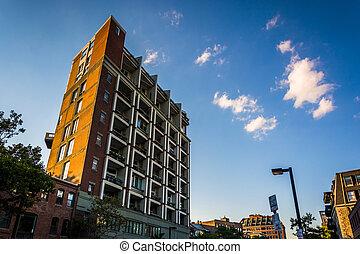 flatgebouw, in, boston, massachusetts.
