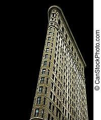 Flatiron building on black