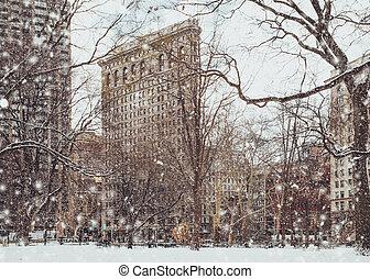 Flatiron Building Snow