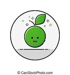 Flatl ine apple icon. Vector eps 10