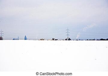 flatland, 지평선, 겨울의 나무, 눈