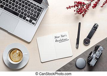 flatlay, オフィス, メモ用紙, 年の, 書かれた, 新しい, 決断