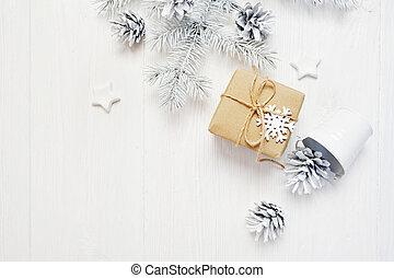 flatlay, gåva, mockup, trä, text, träd, jul, bakgrund, plats, kon, vit, kraft, din