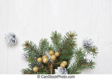 flatlay, mockup, trä, text, träd, jul, bakgrund, plats, filial, vit, din