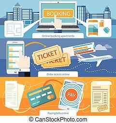 flats, betalen papiergeld, online, ticket, order, boeking