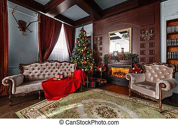 flats, classieke, kadootjes, boom., fireplace., kerstmis, morning.