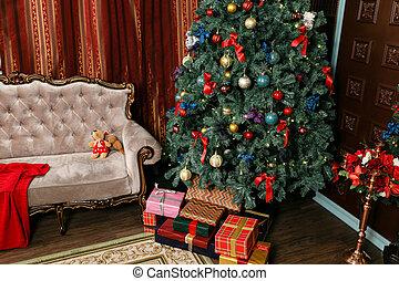 flats, evening., classieke, kadootjes, boom., fireplace., kerstmis